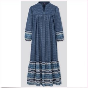 Anna Sui & Uniqlo patterned blue prairie dress NWT